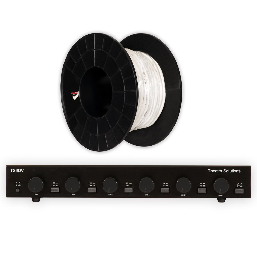 Theater Solutions TS6DV Dual Input 6 Zone Speaker Selector Box with Volume Controls and 100' of C100-16-2 Wire by Theater Solutions