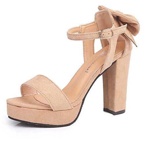 Rough Mujer Waterproof Suede Sandalias Punta Alto Platform Bottom Tacón de Thick New Zapatos Thin Zapatos Summer con Marrón con de Abiertos PwXnq