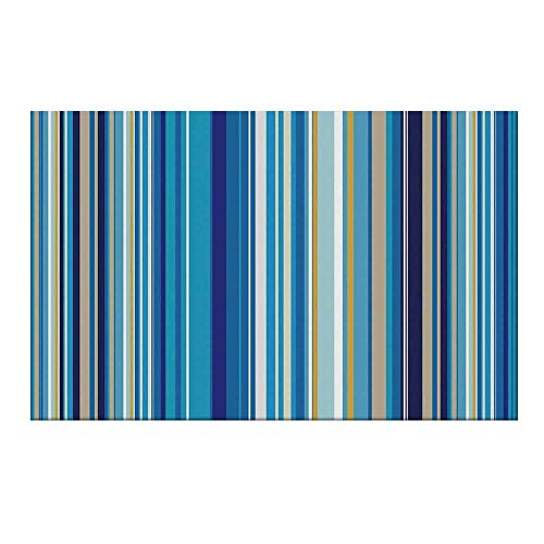 Stripe Repeating - YOLIYANA Blue Durable Door Mat,Vertical Stripes Repeating Retro Revival Pattern Funky Abstract Composition Decorative for Home Office,15.7