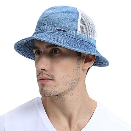 VOBOOM Bucket hat caps Unique Design Mesh Breathable for Women & Men (Blue)