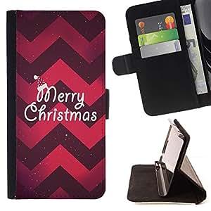 Momo Phone Case / Flip Funda de Cuero Case Cover - Navidad Chevron rojo púrpura de Navidad - HTC One A9