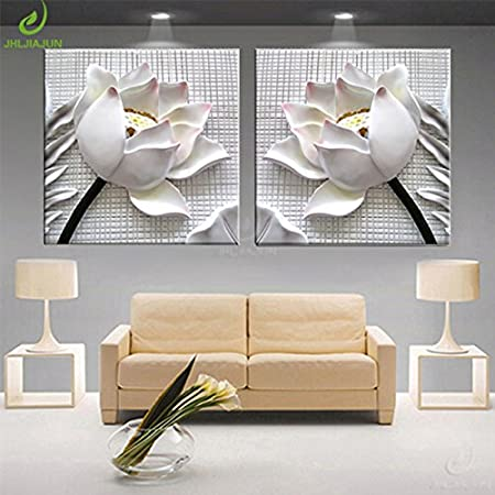 Amazon Com Moderno Lienzo 3d Blanco Con Imagen De Loto Para Decoración Del Hogar Sala De Estar Pintura Modular De Pared Cuadros 2 Piezas Tamaño 23 6 In X 23 6 In X 2 Piezas