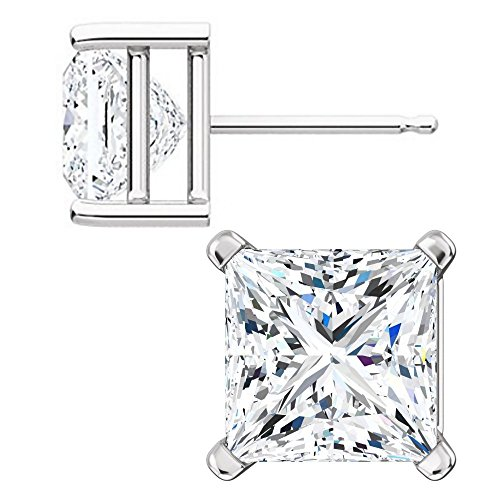 1000 Jewels Sterling Silver 7mm Princess Cut Ice on Fire CZ Stud (Silver Brides Basket)