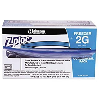 Ziploc Professional Freezer Bags, For Food Organization and Storage, Double Zipper, 2 Gallon, 100 Count