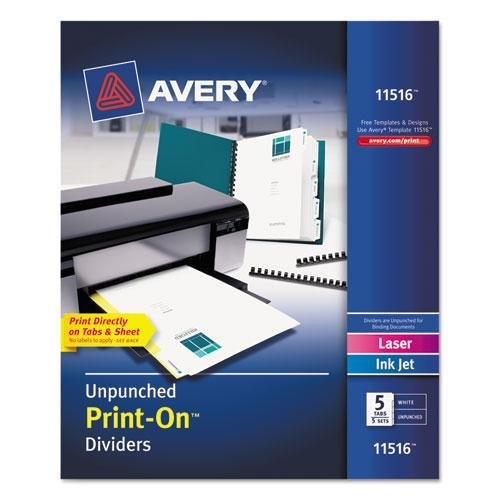 Avery Print-On Dividers, 5-Tab, Unpunched, 8-1/2 x 11, White, 5 Sets/Pack