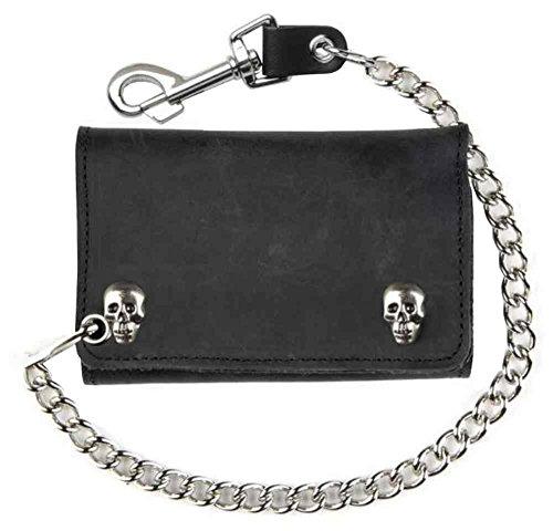 Genuine Leather Men's XL Tri-Fold Biker Chain Wallet w/ Skull Snaps, Black SK325 (Snap Black Skull)