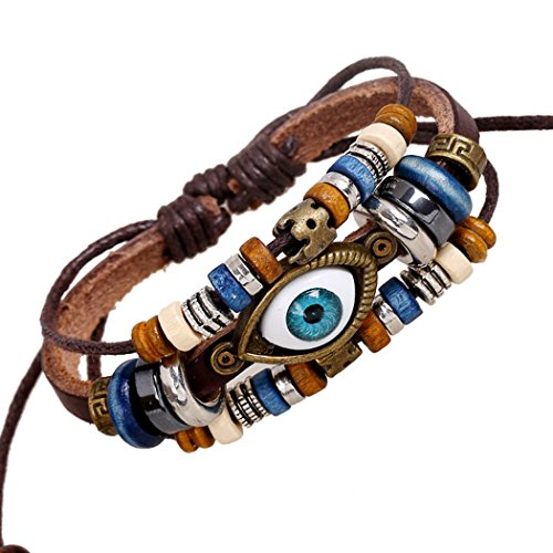 Victoria Echo Handmade Vintage Wood Beads Charms Mysterious Evil Eye Leather Bracelet 3 Wraps