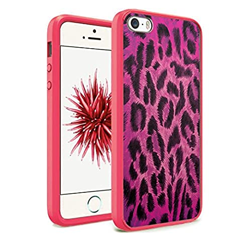 iPhone SE Case, iPhone 5s / iPhone 5 Case, Capsule-Case Hybrid Slim Hard Back Shield Case with Fused TPU Edge Bumper (Pink) for iPhone SE / iPhone 5s / iPhone 5 - (Leopard (Iphone 5 Cases Cheetah)