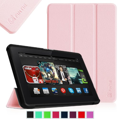 """Fintie Kindle Fire HDX 8.9 Slim Shell Case - Ultra Slim Lightweight Leather Standing Cover (will fit Amazon Kindle Fire HDX 8.9"""" Tablet 2014 4th Generation and 2013 3rd Generation), Pink"""