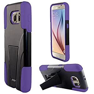 Zizo Protective Plus Silicone Hybrid Cover with Kickstand Case for Samsung Galaxy S6 - Retail Packaging - Purple