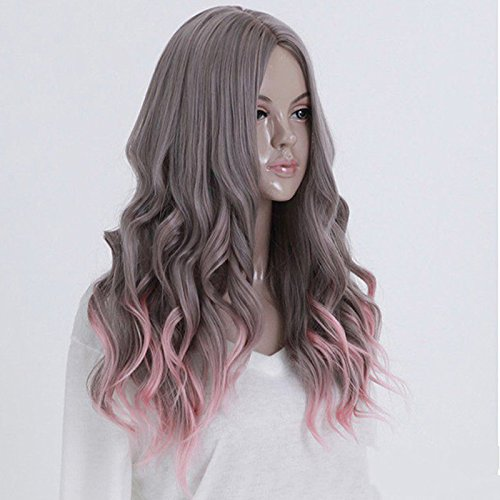 DASARA Women's Gray Pink Ombre Hair Cosplay Party Wig Wavy Curly Full Long Costume Wigs ()