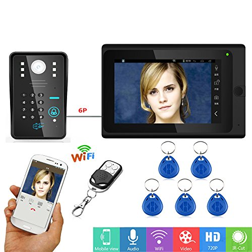 MOUNTAINONE 7inch Wired / Wireless Wifi RFID Password Video Door Phone Doorbell Intercom with IR-CUT 1000TVL Camera (Door Video Wired Intercom)