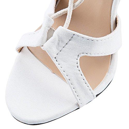 Sandalias De Tacón Alto De Estilete De Cuero Con Cordones Para Mujer Elegantes De Beautygal Blancas