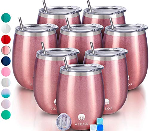Albor Triple Insulated Wine Tumbler with Lid Stainless Steel 12 Oz Tumbler Rose Gold (8 Pack)