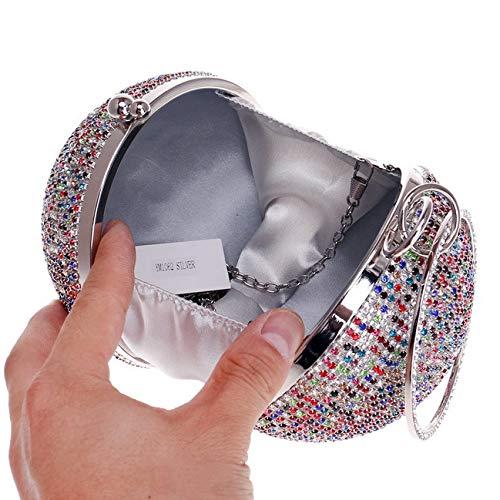Femmes Forme De Boule Pochette Clutch Embrayage Brillant Cristal Diamant Sac De Soirée Mariage FêTe Sacs à Main Gold2