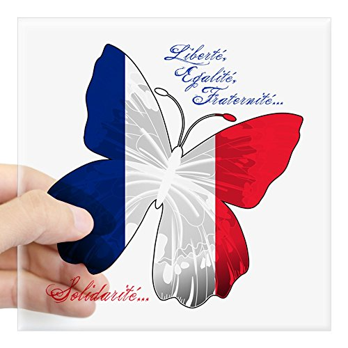 (Square Sticker Clear 3 x 3 Inch French Flag Butterfly Solidarite)