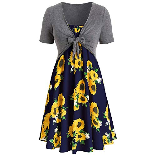 KCatsy Plus Size Sunflower Print Dress with Front Knot Top