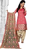 IndusDiva Women's Peach Chanderi Silk A-line Kameez with Salwar