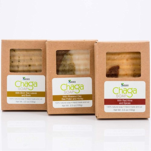 Sayan Siberian Chaga Mushroom Soaps -Pack of 3, Chaga with Birch Tree Leaves and Buds, Chaga with Red Wine and Spices & Chaga with Rhassoul Clay, Bee Pollen and Honey - All Natural and Hand Made