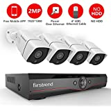 Firstrend 4CH POE Security Camera System with 4 x 1080P HD Security Camera, Plug and Play Home Camera Security System with Free APP, Night Vision, NO HDD