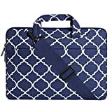 MOSISO Laptop Shoulder Bag Compatible 15-15.6 Inch MacBook Pro, Ultrabook Netbook Tablet, Quatrefoil Canvas Protective Briefcase Carrying Handbag Sleeve Case Cover, Navy Blue