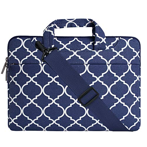 MOSISO Laptop Shoulder Bag Compatible 15-15.6 Inch MacBook Pro, Ultrabook Netbook Tablet, Quatrefoil Canvas Protective Briefcase Carrying Handbag Sleeve Case Cover, Navy Blue by MOSISO