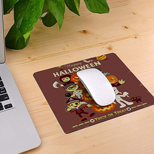 Computer Mouse Pad Custom, Halloween Cartoon Pirate Vampire Mummy Mouse Mat Non-Slip Rubber Base and Jersey Surface Gaming Mouse Pad for Laptop/Desktop/Office/Home 10 x 9 inch -