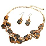 FSMILING Chunky Teardrop Cluster Leopard Tortoise Shell Bib Statement Necklace and Earring Set