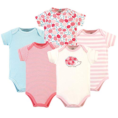 Touched by Nature Unisex Baby Girls Organic Cotton Bodysuits, Rosebud Short Sleeve 5 Pack, 3-6 Months (6M)
