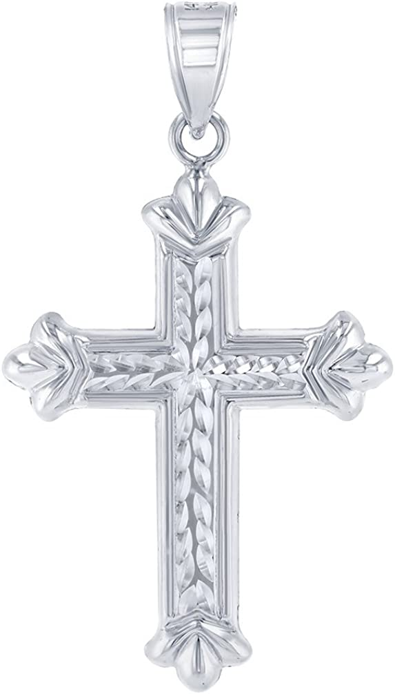 Textured 14k White Gold Fleur de Lis Cross Charm Pendant Necklace