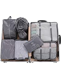 Meowoo 8 Pieces Packing Cubes Reusable Waterproof Large Capacity Lightweight Travel Storage Suitcase Luggage Organizer with Shoes Bag(Grey 8pcs)
