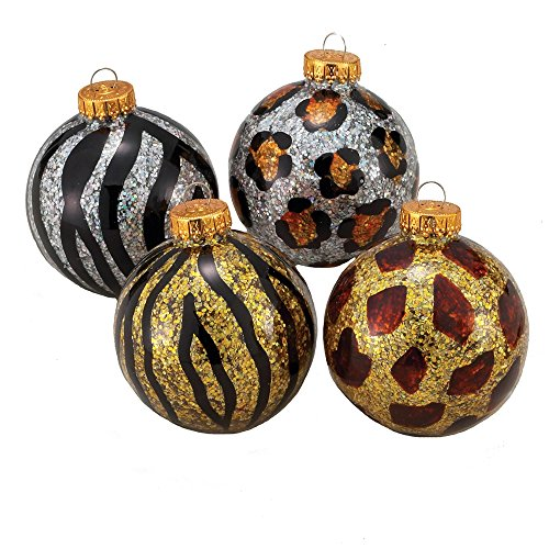 Skins Ball Leopard (Kurt Adler Animal Skin Design Glass Ball Ornament, 65mm, Set of 4)