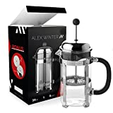 Comprar Alex Winter French Press Coffee Maker ? Glass, Stainless Steel Press with Additional Top Filter, Spoon, 2 Extra Bonus Filters, 34 oz, 1 litre, Device ? for the Coffee, Tea, Cacao, Berry Drinks en Amazon