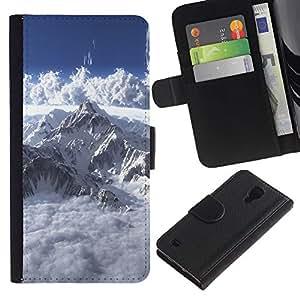 JackGot ( Mont Blanc ) Samsung Galaxy S4 IV I9500 la tarjeta de Crédito Slots PU Funda de cuero Monedero caso cubierta de piel
