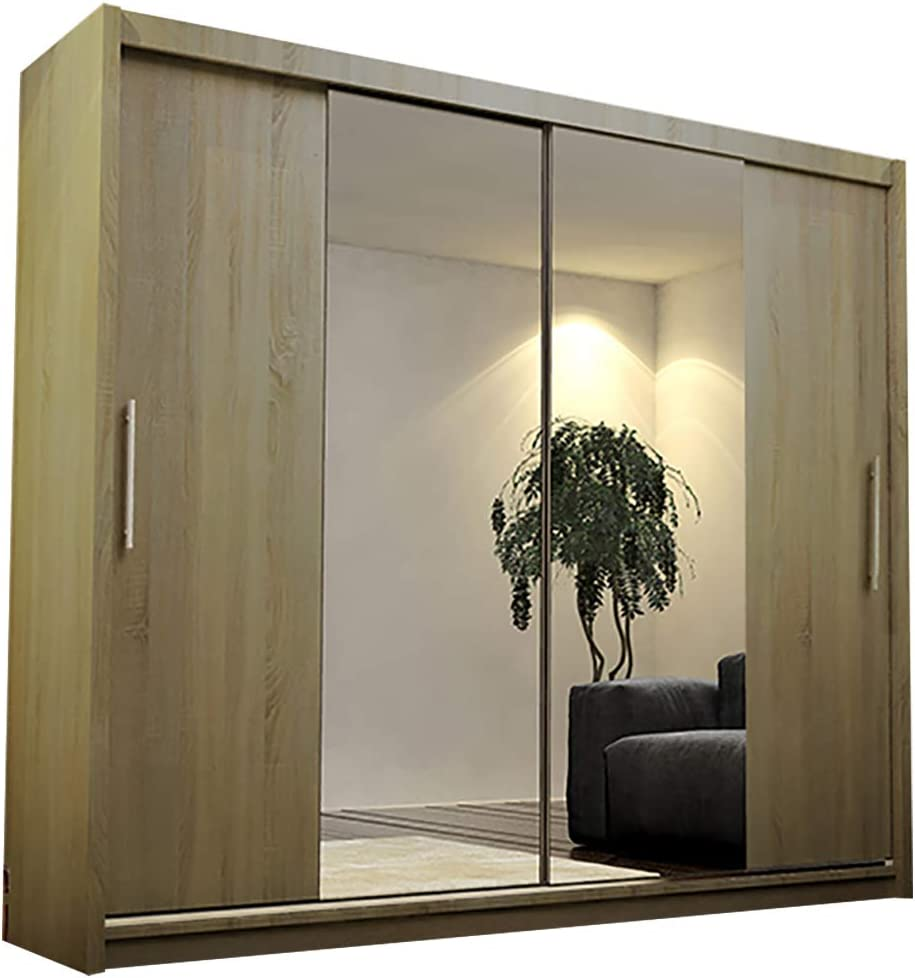 Alter GM Moderno Armario Espejo Puertas correderas Colgar Estante AVA 4 clóset 180 cm, Truffle Oak Without Led Lights, Without Carrying Service: Amazon.es: Hogar