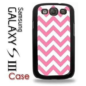 Samsung Galaxy S3 Plastic Case - Pink and White Chevron Pattern