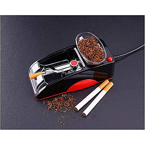 Electric Automatic Cigarette Rolling Machine Tobacco Maker Roller Mini Machine Come with Plug, Men's Father's Best Gift (Red) ()