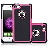 iPhone 5s Case, NOVT Dual Layer Shockproof iPhone 5s Phone Case Cover Hybrid Heavy Duty Hard Plastic with Soft Rubber Protective Case for Apple iPhone 5 / 5S (Black/Rose Red)