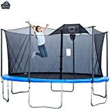 Jumptastic 14 Ft Round Trampoline with Safety Enclosure Basketball Set and Anchor Kits/84 Springs/Ships from New Jersey and CA/Packed in Three Boxes which Shipped Separately.