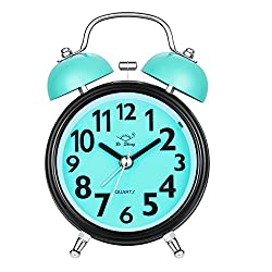 Alarm Clock, Silent Desk Bedside Travel Alarm Clock, Cute No Ticking Twin Bell with Nightlight and Loud Alarm Analog Clock for Bedrooms, Heavy Sleepers (Blue)