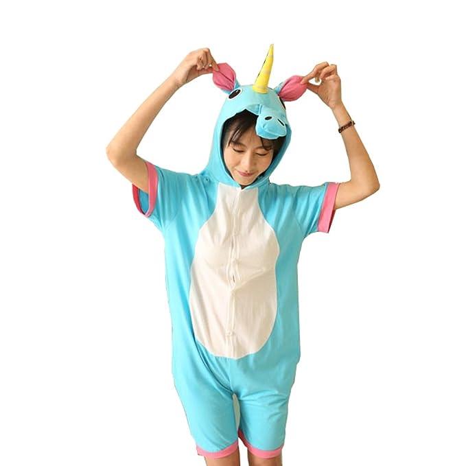 Verano manga corta pijamas animales Unicorn Dinosaur Panda Vaca Cosplay ropa de dormir (S,