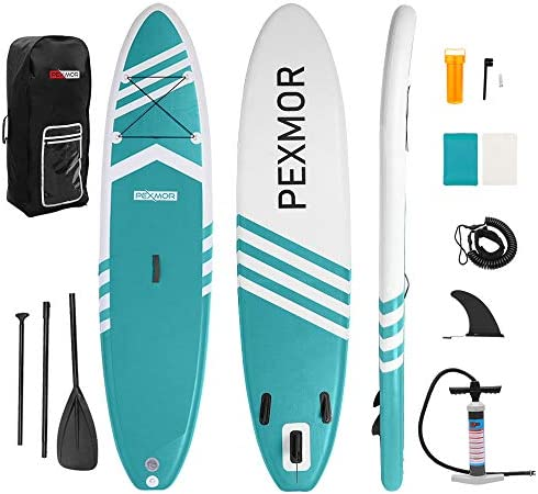 PEXMOR Inflatable Stand Up Paddle Board for Fishing Yoga Paddle Boarding with Premium SUP Accessories Carry Bag, Surf Control, Non-Slip Deck Youth Adult Standing Boat 10 6 X 30 X 6