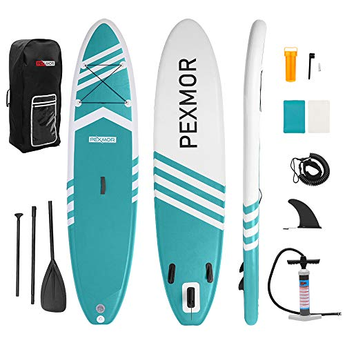 "PEXMOR Inflatable Stand Up Paddle Board for Fishing Yoga Paddle Boarding with Premium SUP Accessories & Carry Bag, Surf Control, Non-Slip Deck | Youth & Adult Standing Boat 10'6"" X 30"" X 6"" (Aqua)"