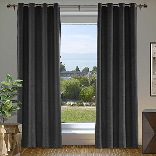 cololeaf Extra Wide Curtain Panels 150 W x 96 L Linen Drapes with Blackout Lining, Grommet Top Linen Curtains for Living Room Meetingroom Theater Patio, Black 1 Panel