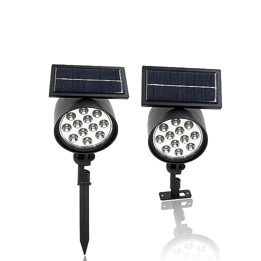 ZXH 2PCS Foco LED Solar Exterior, 12 LED a Prueba de agua ...