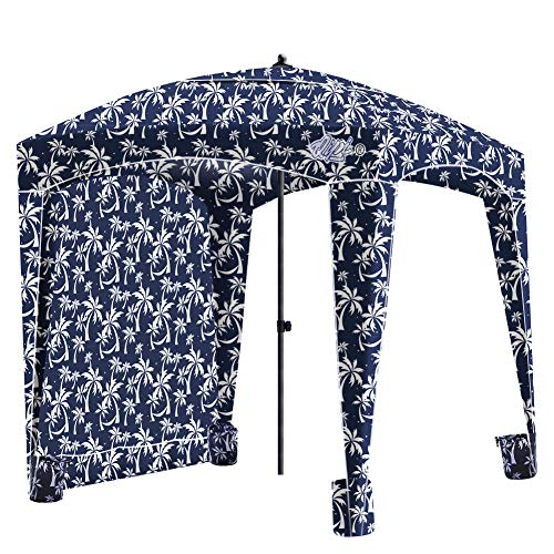 Qipi Beach Cabana - Easy to Set Up Canopy, Waterproof, Portable 6' x 6' Beach Shelter, Included Side Wall, Shade with UPF 50+ UV Protection, Ultimate Sun Umbrella - for Kids, Family - Palm Night