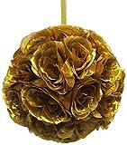 Firefly Imports Homeford Flower Kissing Balls Pomander Pom Pom Wedding Centerpiece, Metallic Gold
