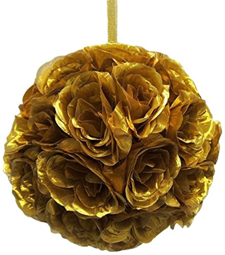 Firefly Imports Homeford Flower Kissing Balls Pomander Pom Pom Wedding Centerpiece, Metallic Gold by Firefly Imports
