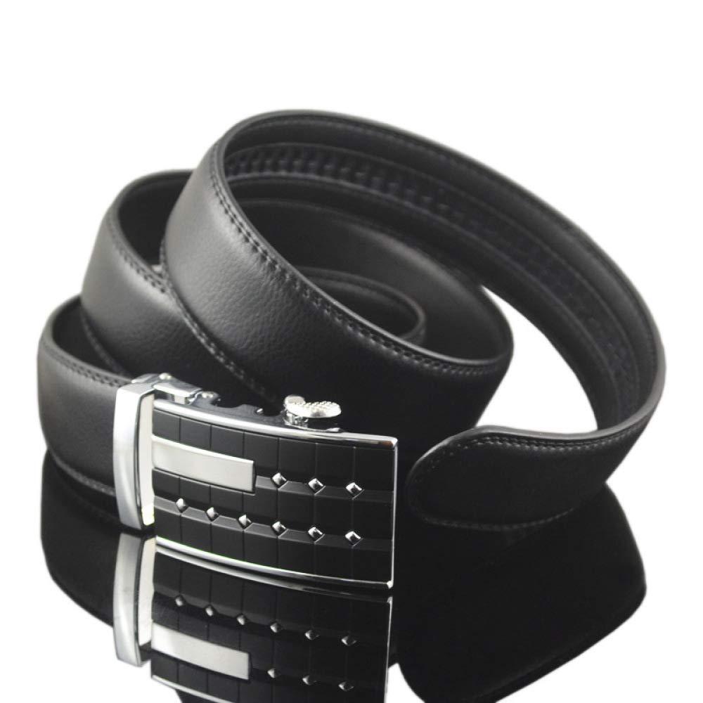 DENGDAI Mens Leather Belt Automatic Buckle Belt Pants Length 110-130cm