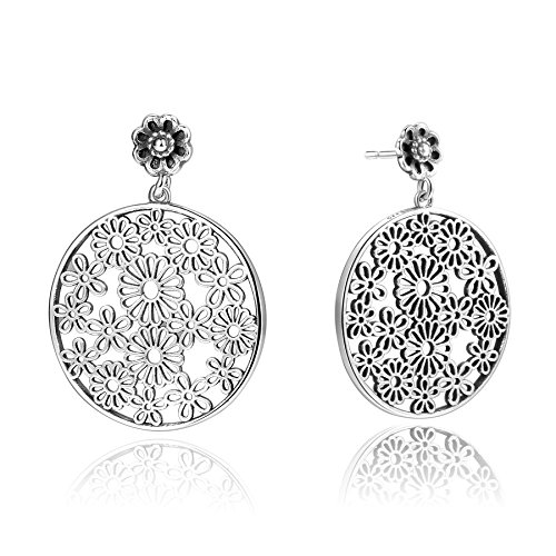 925 Sterling Silver Vintage Boho Flower Circle Dangle Drop Filigree Statement Stud Earrings